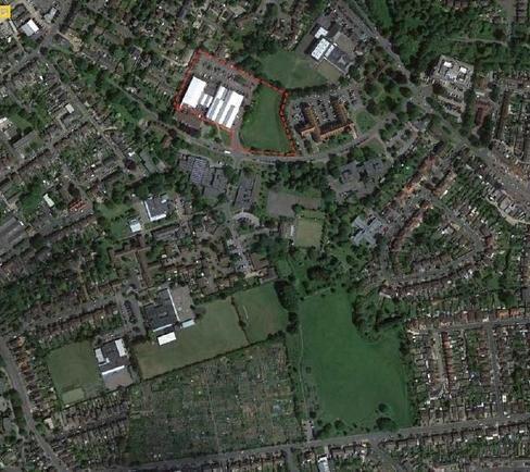 Arial map of land around Spelthorne Leisure Centre