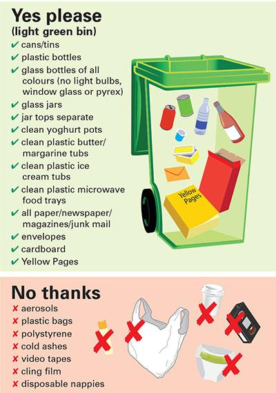 Recycling bins Displays a larger version of this image in a new browser window